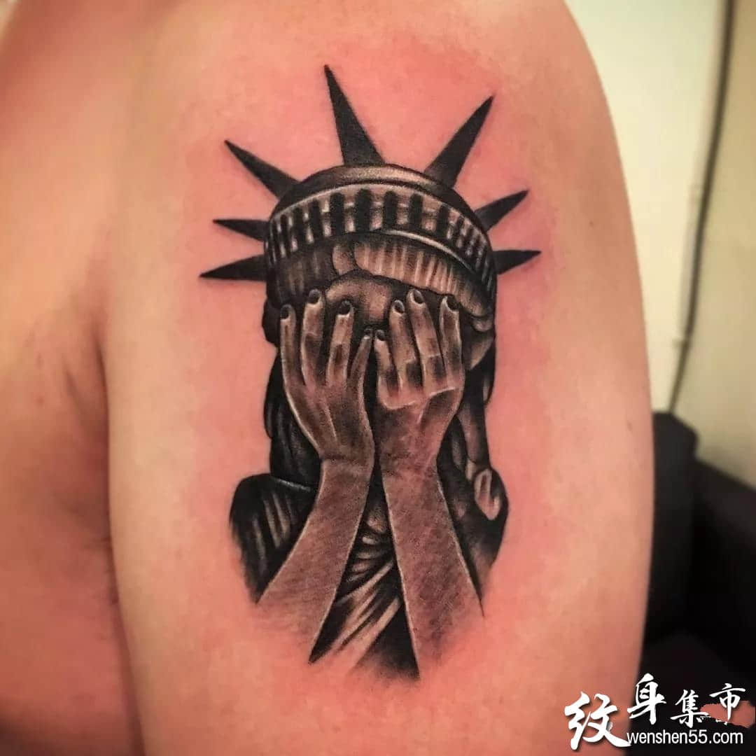 自由女神像纹身,自由女神像纹身手稿,自由女神像纹身手稿图案