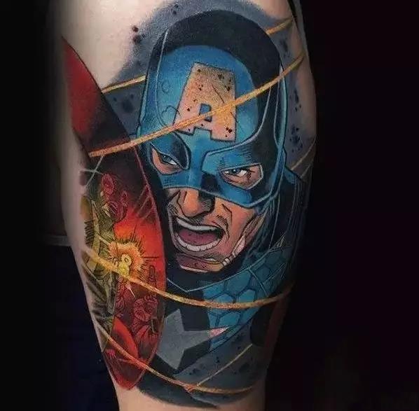 美国队长纹身,美国队长纹身手稿,美国队长纹身手稿图案