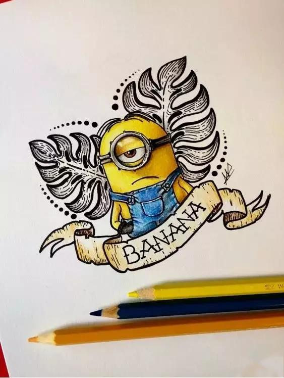 小黄人纹身,小黄人纹身手稿,小黄人纹身手稿图案