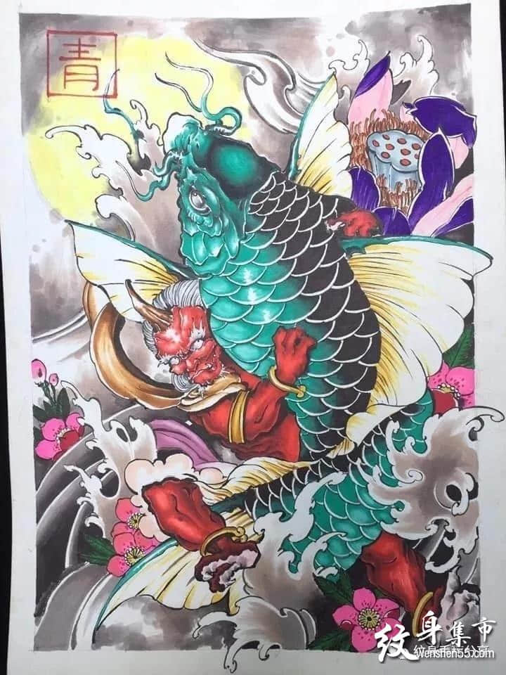传统纹身,传统纹身手稿,传统鱼凤凰般若纹身手稿图案