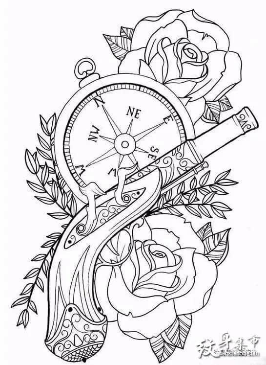 手枪纹身,手枪纹身手稿,手枪纹身手稿图案