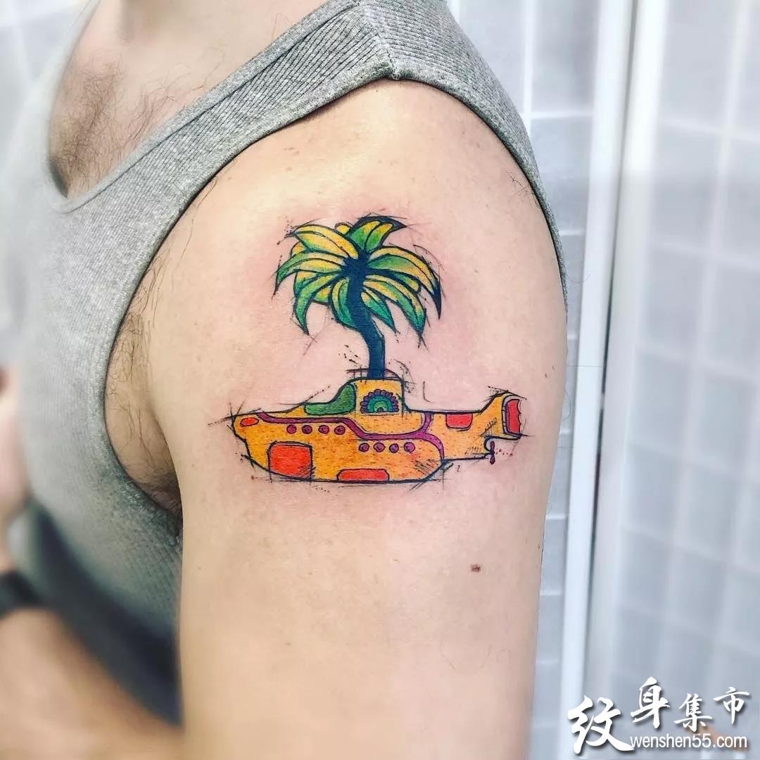 潜水艇纹身,潜水艇纹身手稿,潜水艇纹身手稿图案