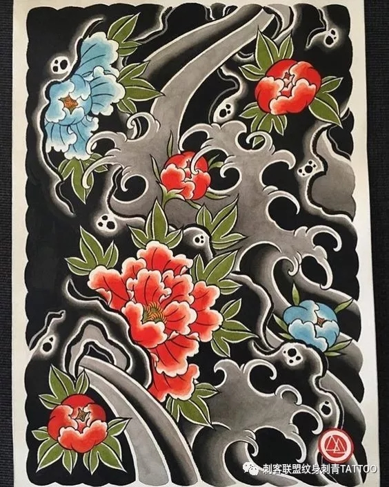 日式满背花臂纹身,日式满背花臂纹身手稿,日式满背花臂纹身手稿图案素材