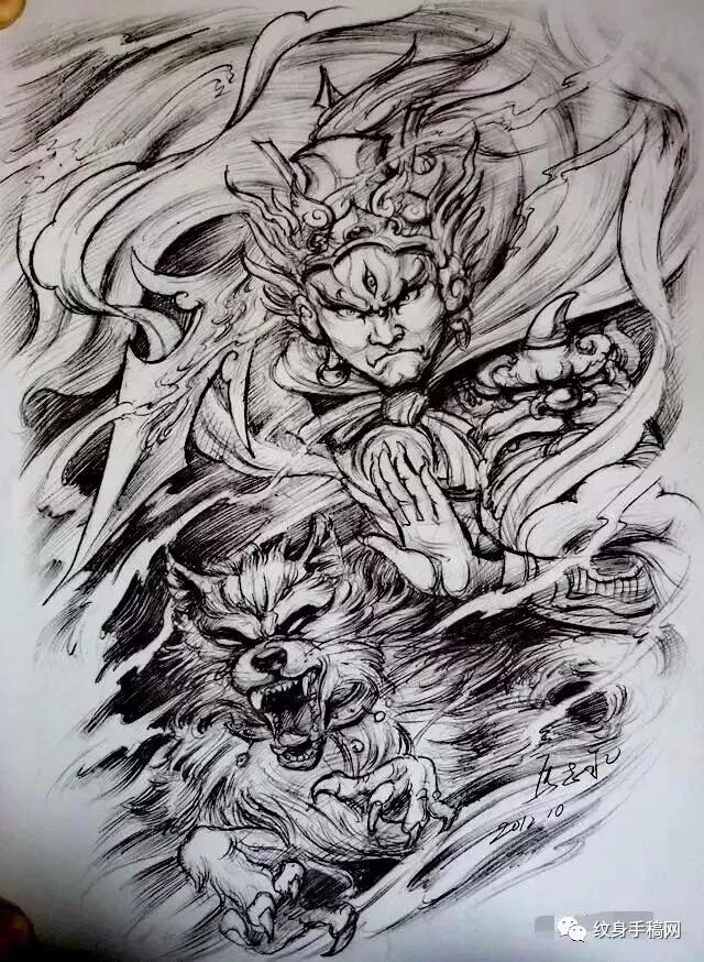 二郎神杨戬纹身,二郎神杨戬纹身手稿,二郎神杨戬纹身手稿图案