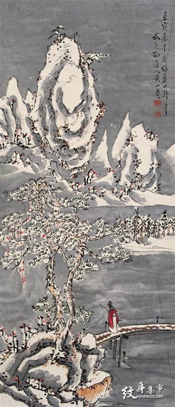 重彩山水纹身,重彩山水纹身手稿,重彩山水纹身手稿图案