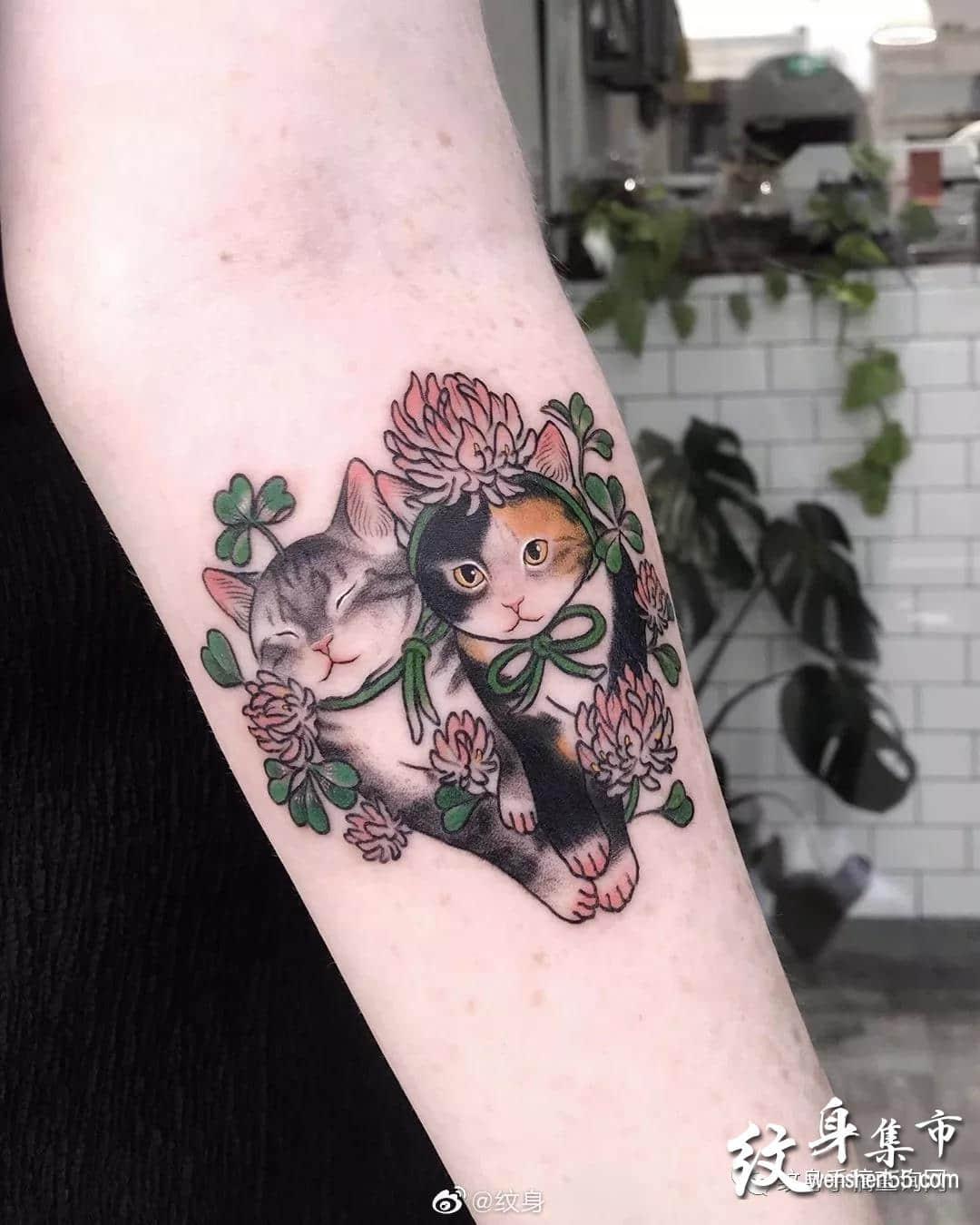 萌萌猫纹身,萌萌猫纹身手稿,萌萌猫纹身手稿图案