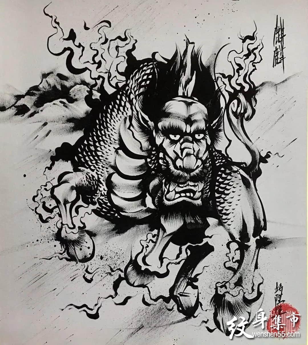 传统水墨纹身,传统水墨纹身手稿,传统水墨纹身手稿图案