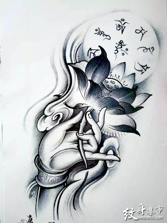 荷花纹身,荷花纹身手稿,荷花纹身手稿图案