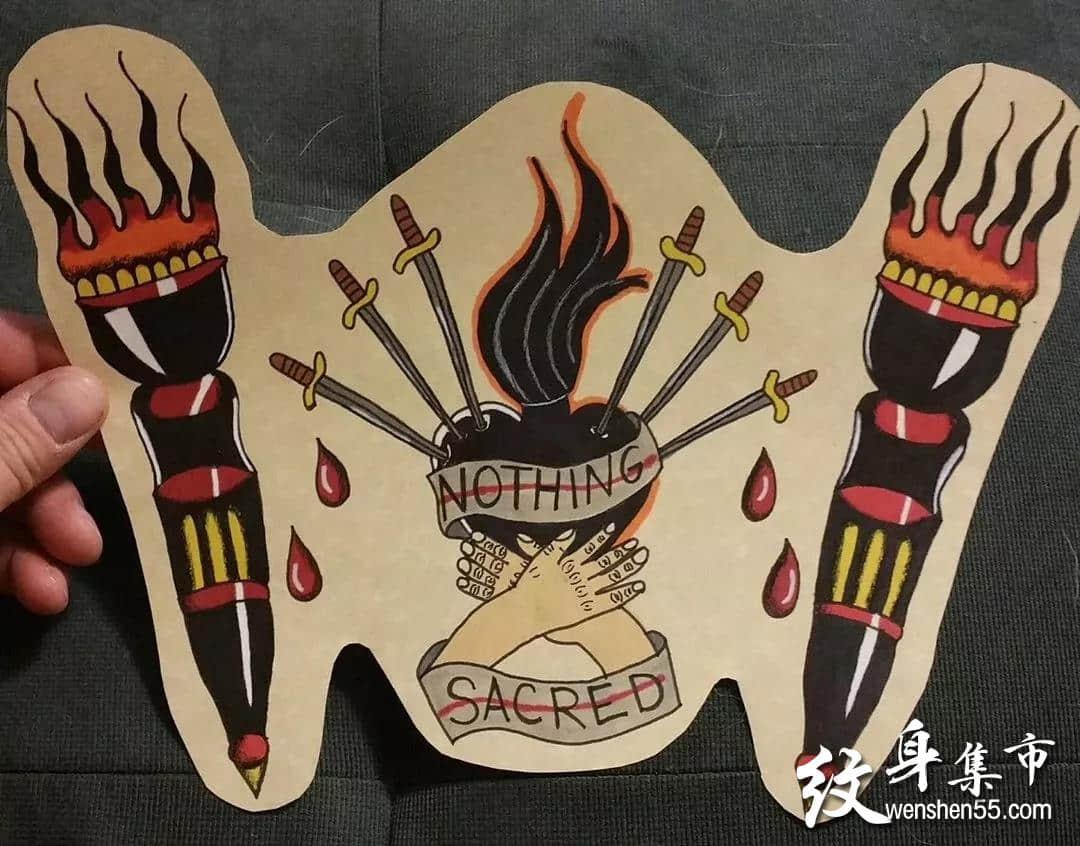 神圣之心纹身,神圣之心纹身手稿,神圣之心纹身手稿图案