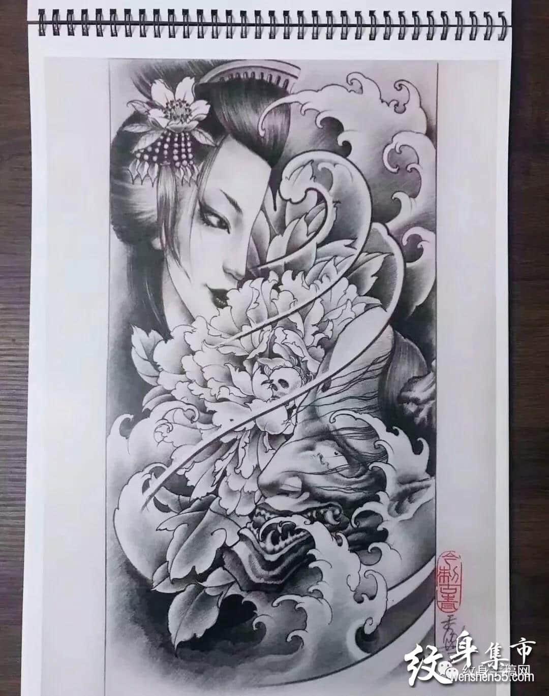 最新艺伎纹身,艺伎纹身手稿,艺伎纹身手稿图案图片