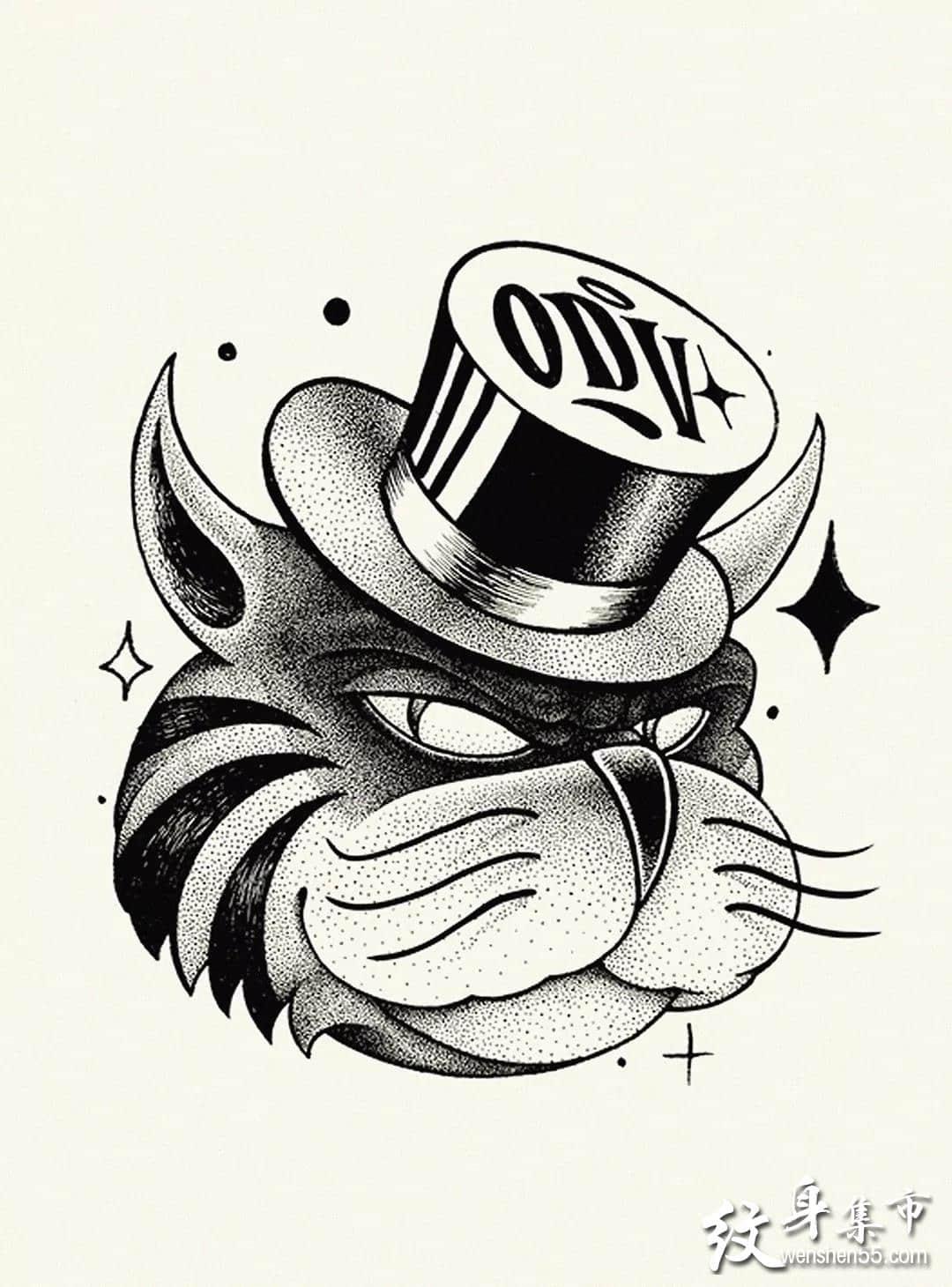 点刺动物头纹身,点刺动物头纹身手稿图案
