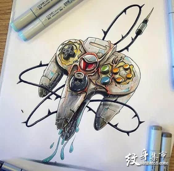 游戏机纹身,游戏机纹身手稿,游戏机纹身手稿图案