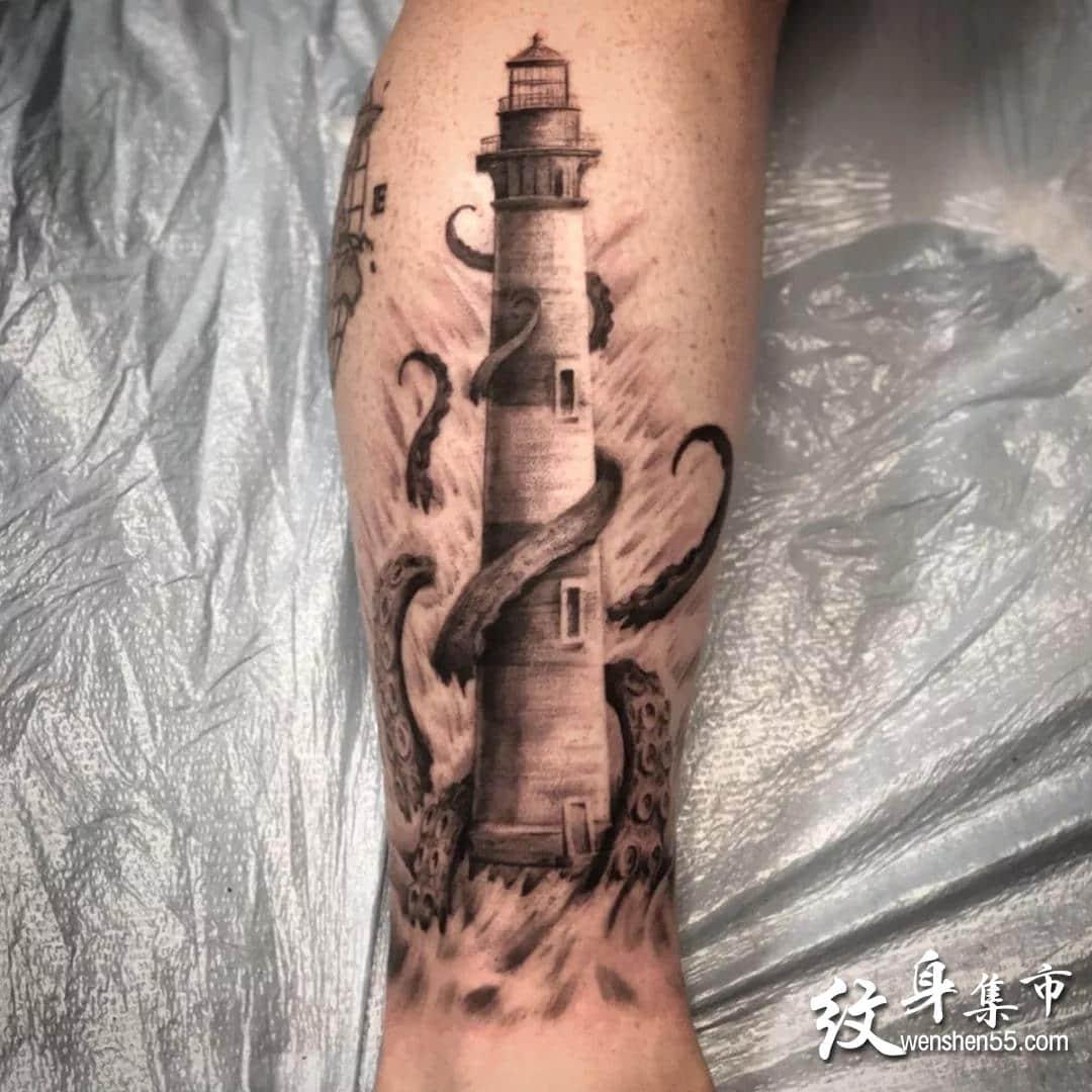 灯塔纹身,灯塔纹身手稿,灯塔纹身手稿图案