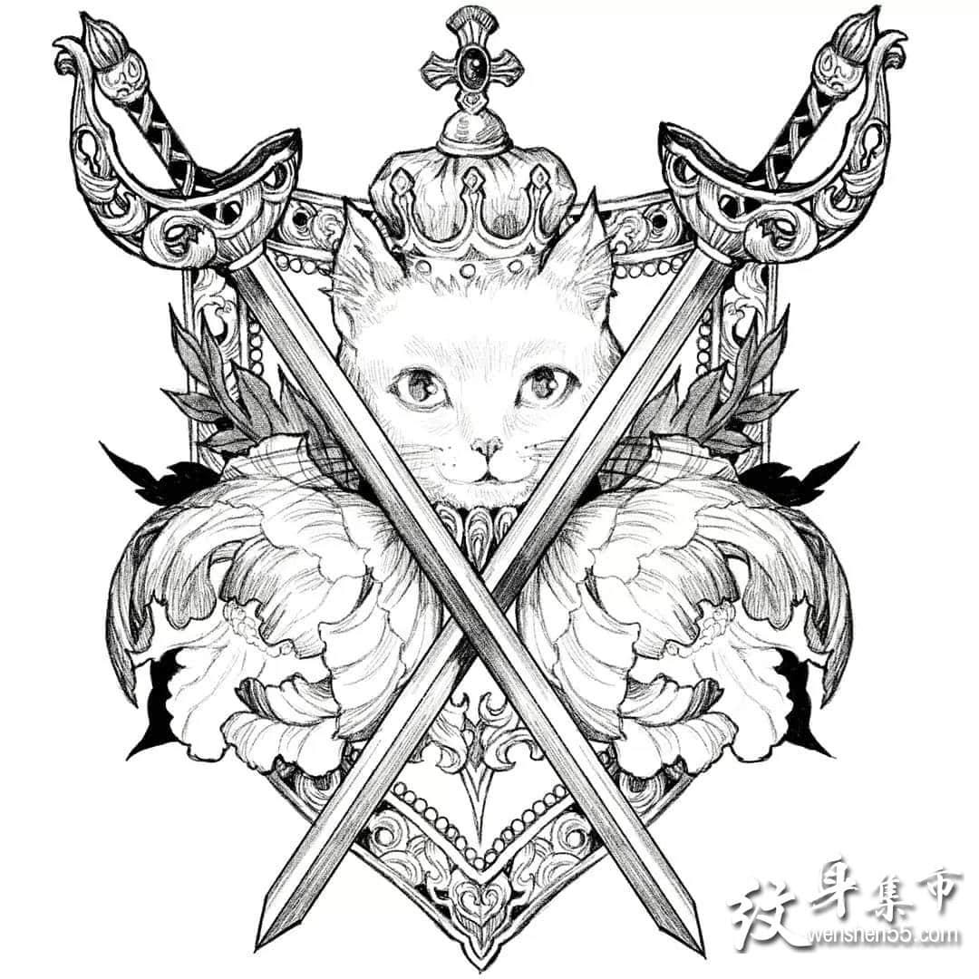 优雅的女人,插画风格纹身