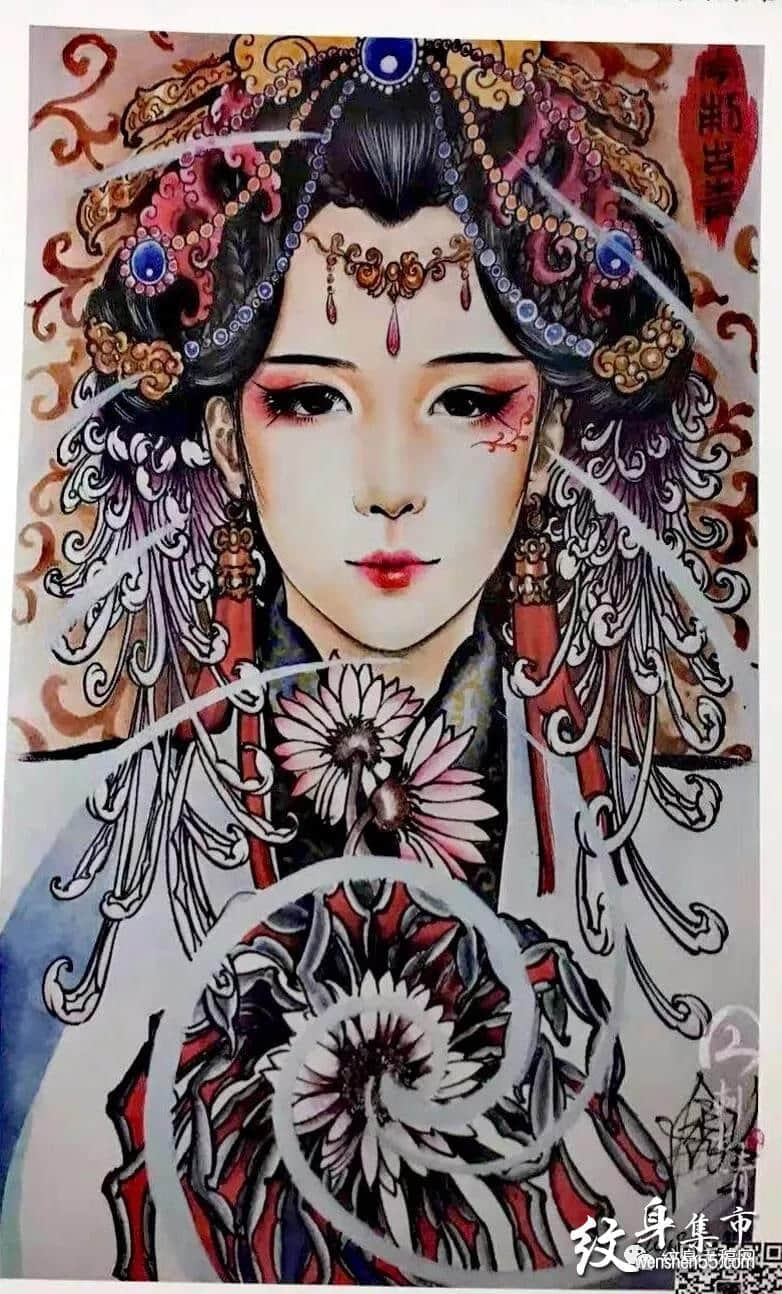 最新艺伎纹身,艺伎纹身手稿,艺伎纹身手稿图案