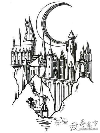 城堡纹身,城堡纹身手稿,城堡纹身手稿图案