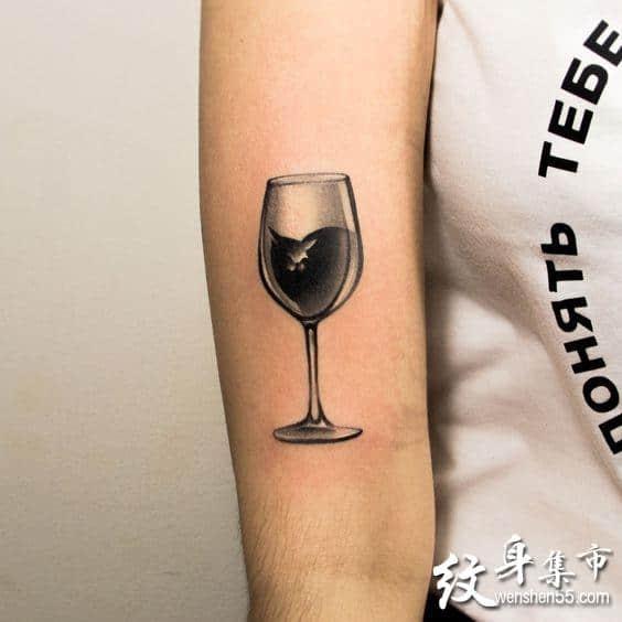 酒杯纹身,酒杯纹身手稿,酒杯纹身手稿图案