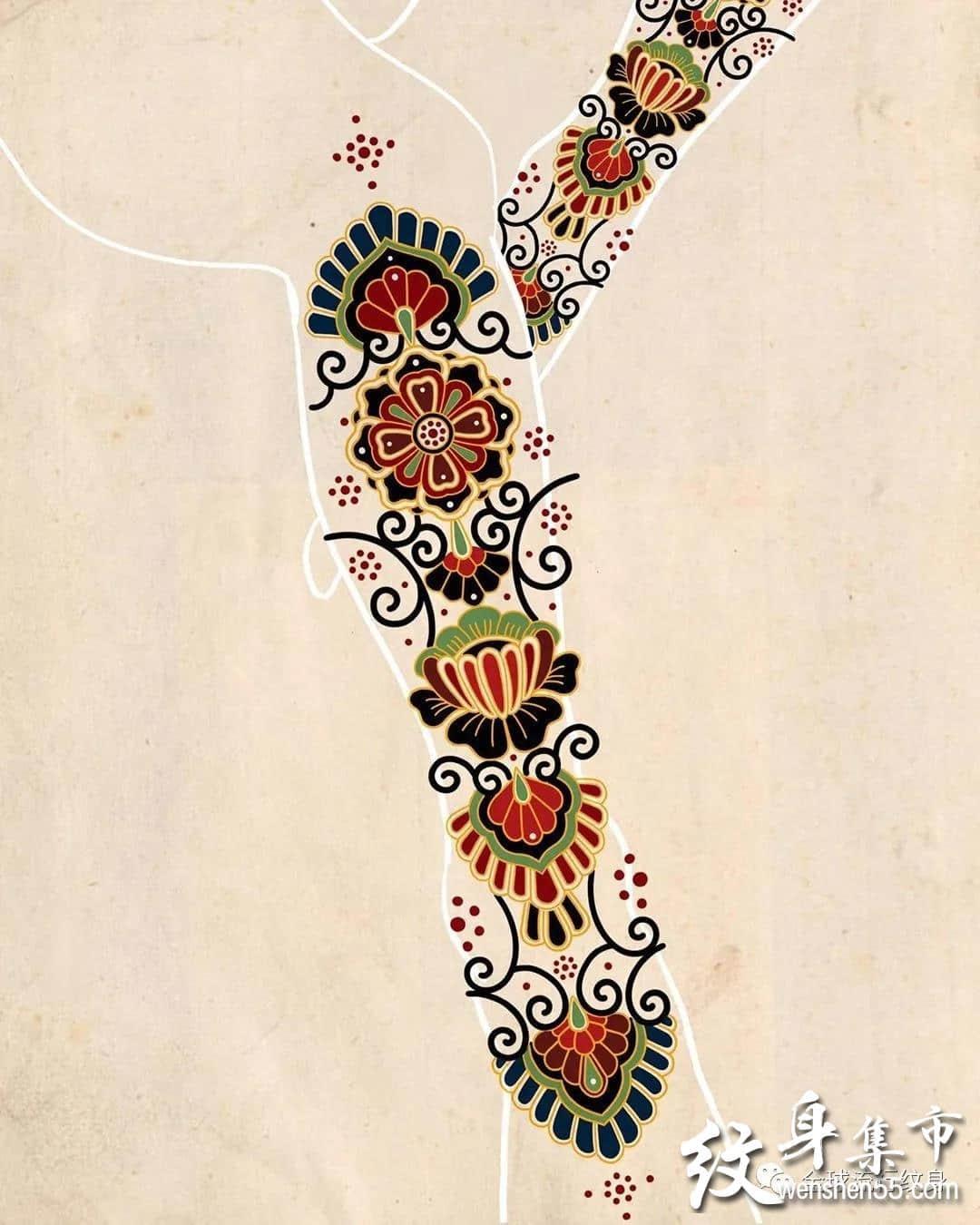 装饰花纹纹身,装饰花纹纹身手稿,装饰花纹纹身手稿图案
