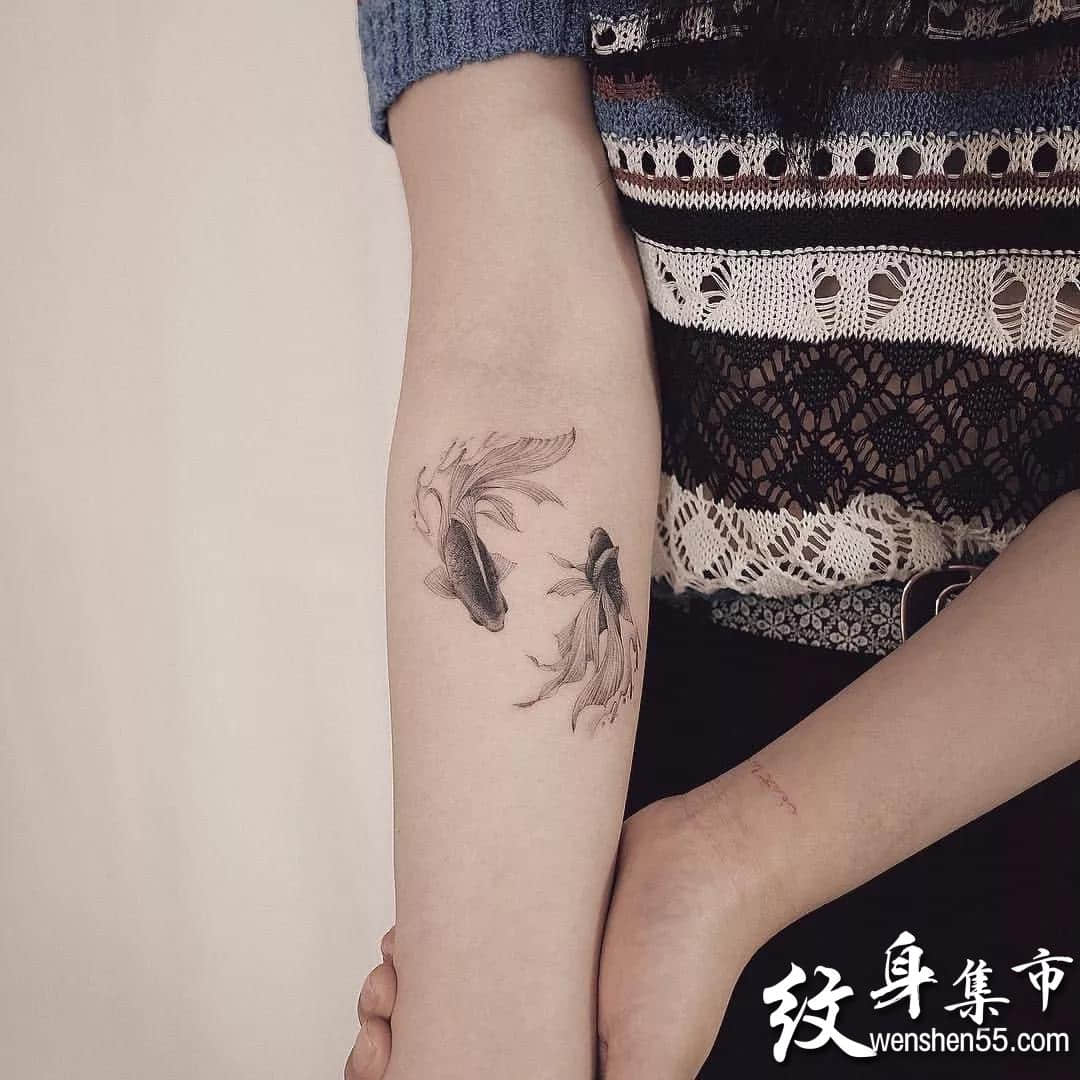 金鱼纹身,金鱼纹身手稿,金鱼纹身手稿图案