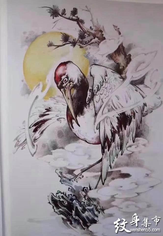 仙鹤纹身,仙鹤纹身手稿,仙鹤纹身手稿图案