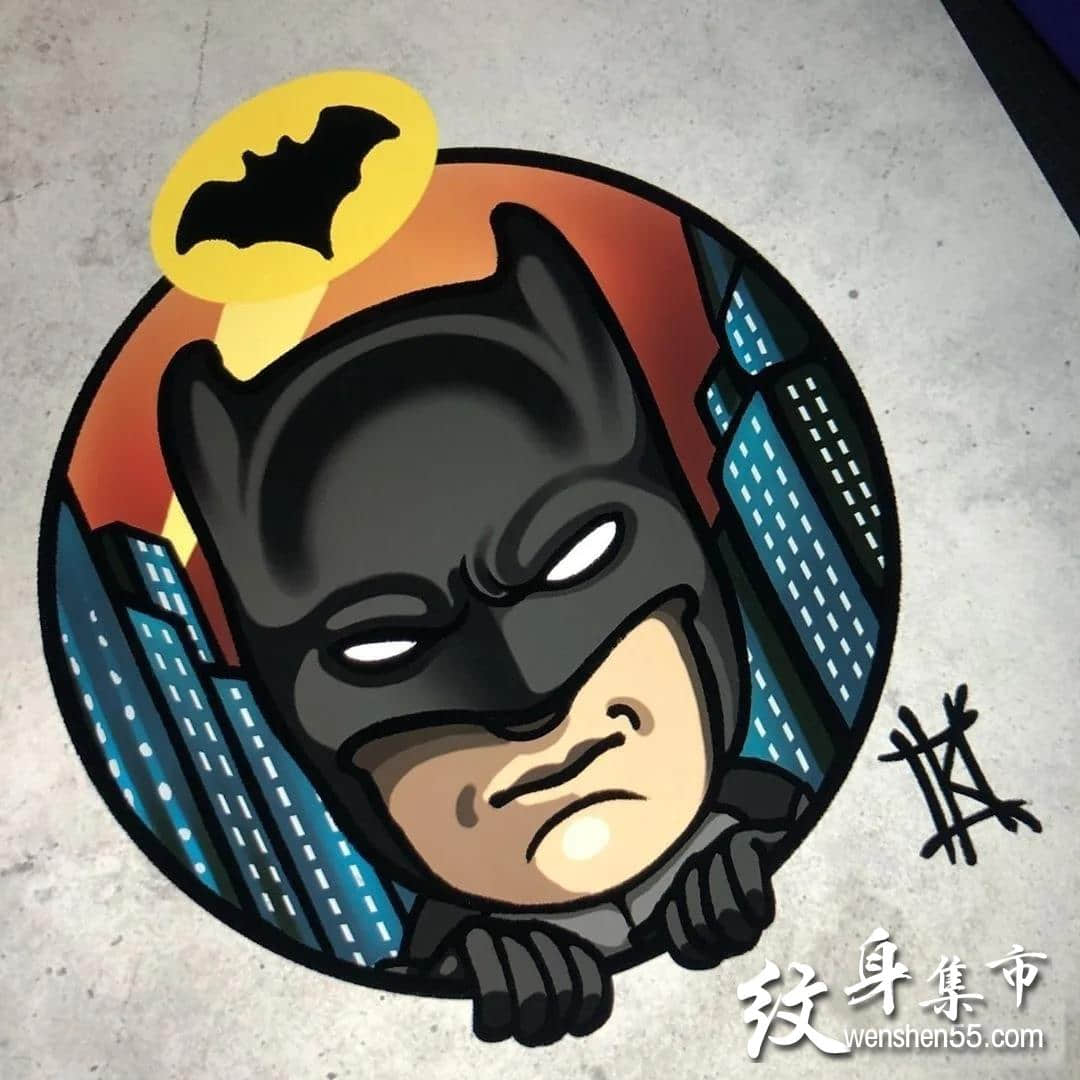 蝙蝠侠纹身,蝙蝠侠纹身手稿,蝙蝠侠纹身手稿图案