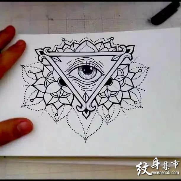 上帝之眼纹身,上帝之眼纹身手稿,上帝之眼纹身手稿图案