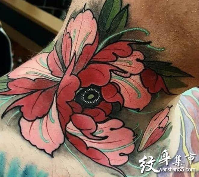 颈部菊花纹身,颈部菊花纹身手稿,颈部菊花纹身手稿图案