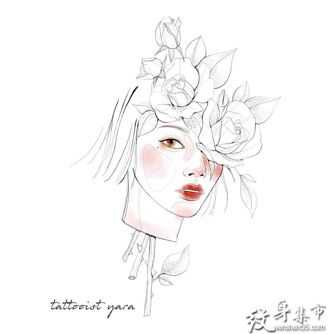淡彩美少女纹身,淡彩美少女纹身手稿,淡彩美少女纹身手稿图案