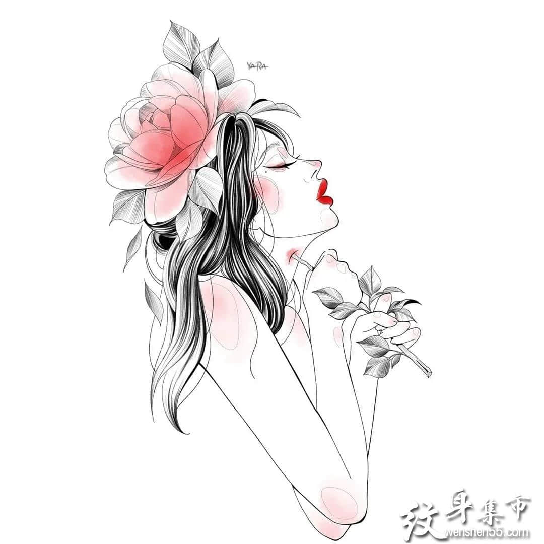 少女与花,唯美简约,适合女孩子的纹身