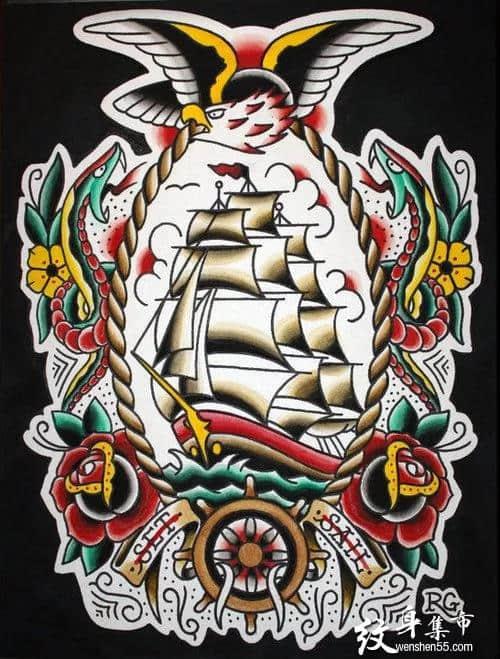 可以纹大满背的帆船纹身手稿图案