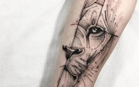 黄金比例的几何类纹身素材图案