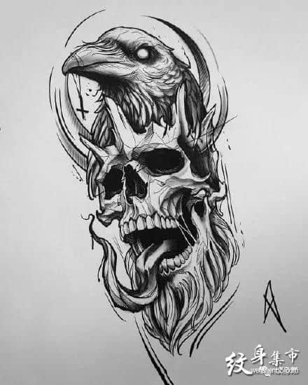 骷髅纹身,骷髅纹身手稿,骷髅纹身手稿图案