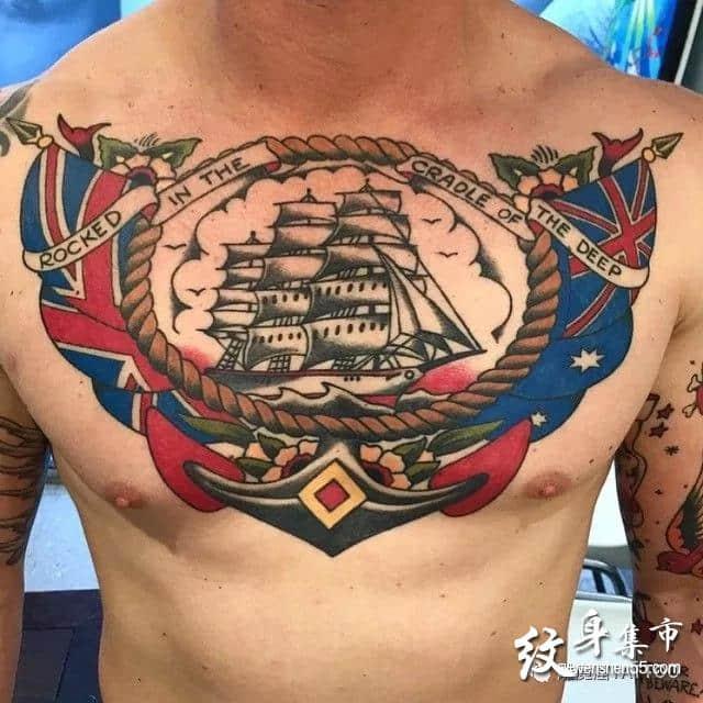 男士花胸纹身,男士花胸纹身手稿,男士花胸纹身手稿图案