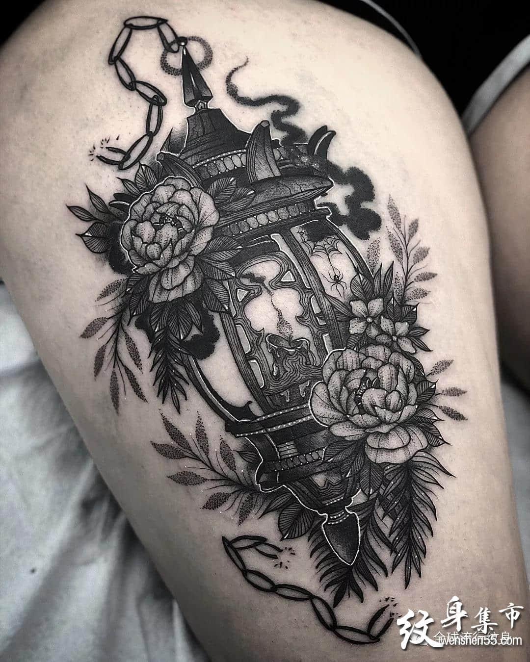 暗黑素描风纹身,暗黑素描风纹身手稿图案