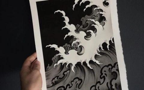 水浪、浪花纹身手稿图案