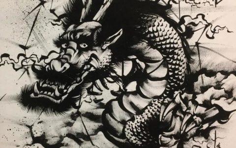 水墨风格纹身手稿图案