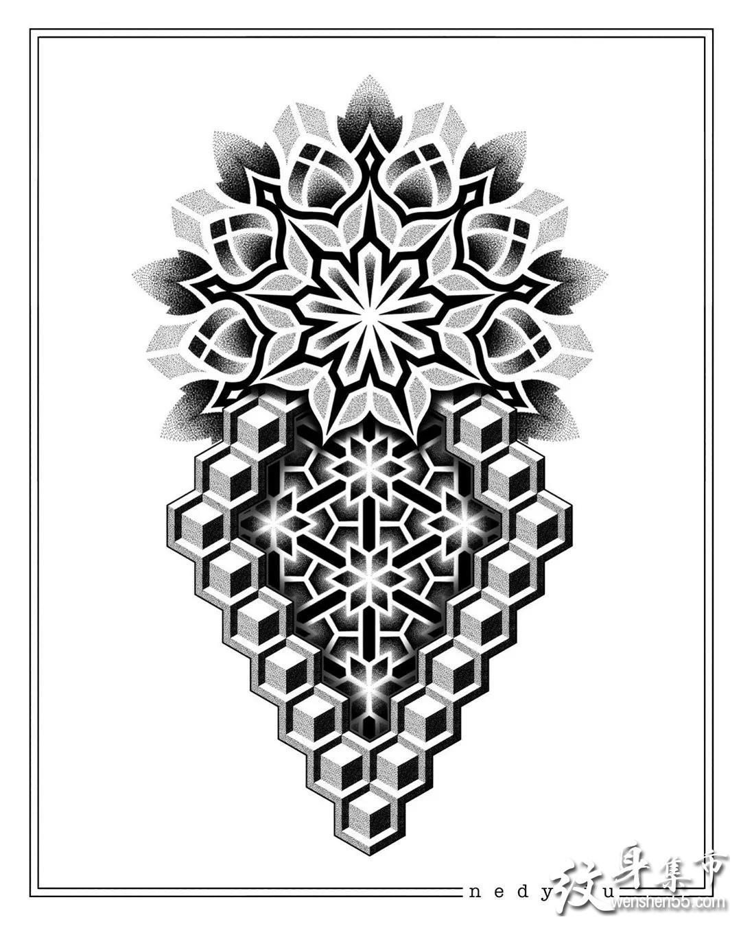 黑灰立体纹身手稿图案