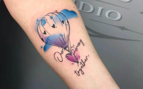 热气球纹身,热气球纹身手稿,热气球纹身手稿图案